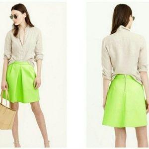 J. Crew Neon green/yellow pleated skirt sz 0